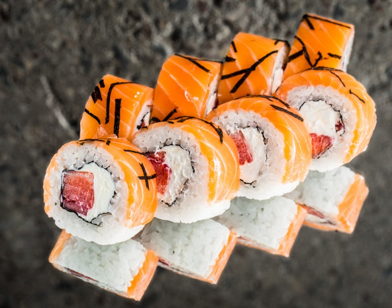 Philadelphia roll with strawberries