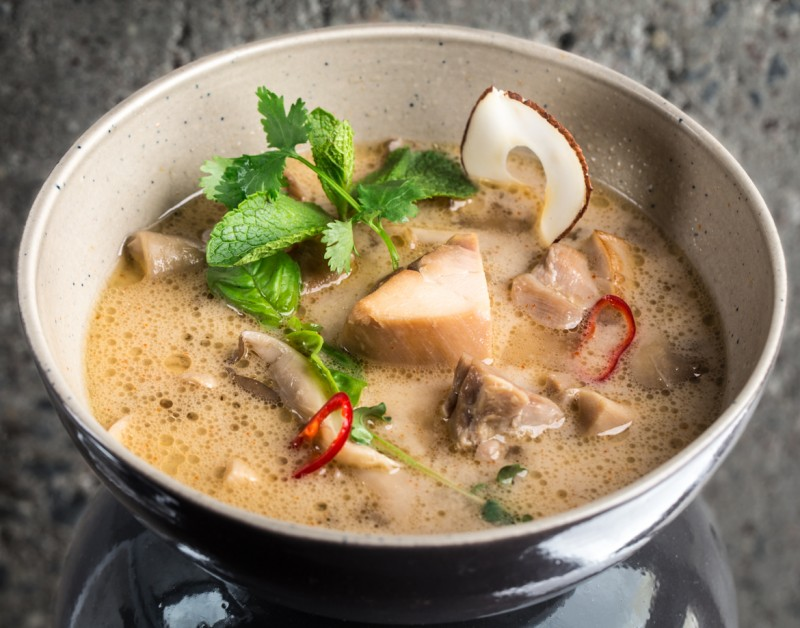Chicken soup with coconut milk