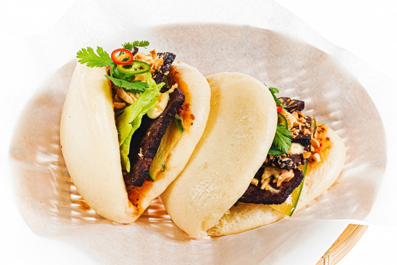 Bao with beef brisket  and truffle mousse