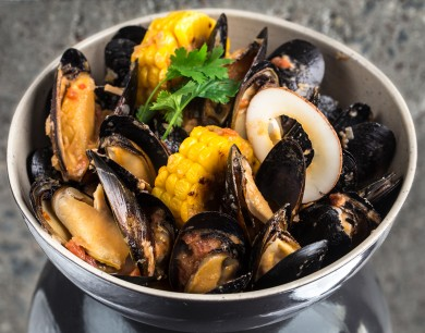 Mussels in curry sauce