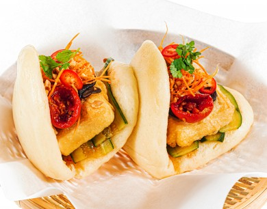 Tofu cheese bao with semi-dried tomatoes