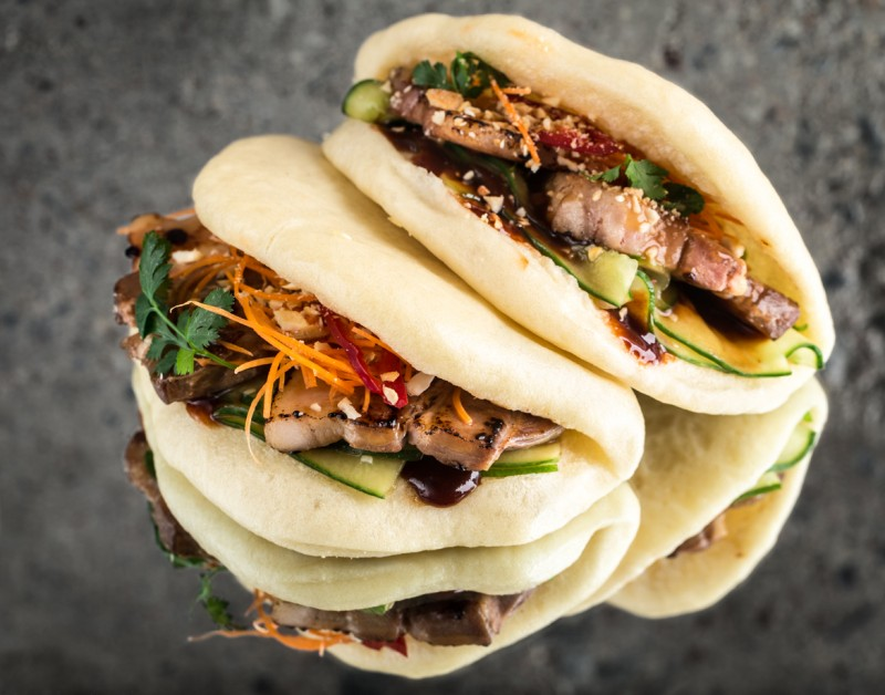 Bao with  caramelized pork belly