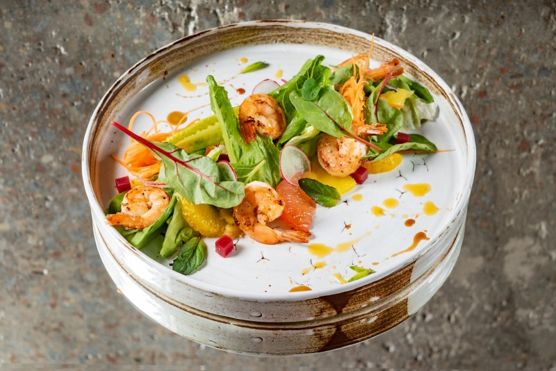 Shrimp salad with blackberry marmalade and citrus dressing
