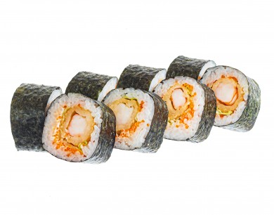 Roll with fried shrimp and flying fish roe