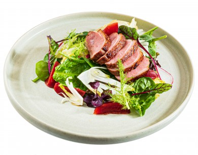 - Duck breast and pickled plum salad